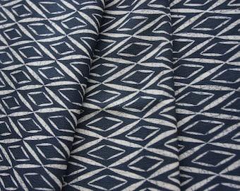 Blue gray Geometrical fabric /Vintage Japanese Kimono fabric/