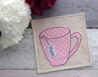 SALE, Personalised Coaster For Mom, Pink Fabric Coaster, Gift For Her, Mug Coaster, Birthday Gift For Mom