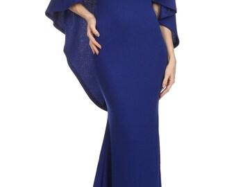 Cape dress maxi blue