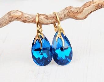 24k Gold Plated Swarovski Earrings-Blue Teardrop Earrings-Swarovski Crystal Jewellery-Capri Blue Wedding Bridesmaids Dangle Drop Earrings