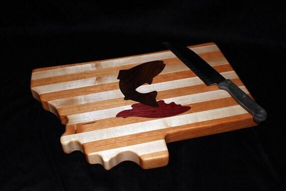 Custom Handmade Montana Shape inlayed Trout Fish Cutting Board