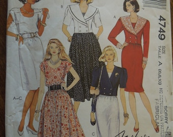 McCalls 4749, sizes 6-10, unlined jacket and dress, UNCUT sewing pattern, craft supplies