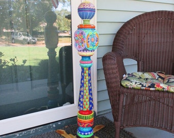 Hand Painted Recycled Garden Post