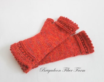 Fingerless gloves, hand knit - Alpaca, natural alpaca