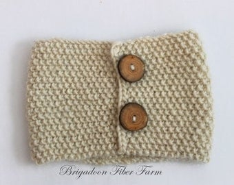 Alpaca headband, Bandeau, head band, hand knit, wood button