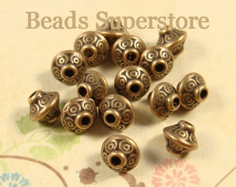 SALE 7 mm x 6 mm Antique Copper Spacer Bead - Nickel Free, Lead Free and Cadmium Free - 20 pcs