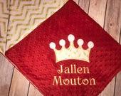 Crown- Personalized Minky Baby Blanket - Chevron & Minky - Custom Monogram