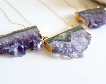 Amethyst necklace - amethyst slice necklace - february birthstone necklace - raw amethyst necklace - crystal necklace boho layering necklace