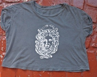 Grey Medusa Cropped T-Shirt Size M