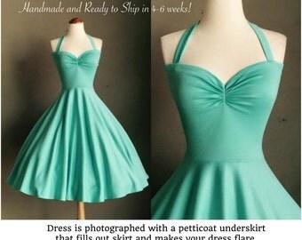"SEAFOAM Cherrybomb Bridesmaid Dress by HARDLEY DANGEROUS, Rockabilly 1950 Style Bridesmaid Semi Formal, 38"" Standard Length"