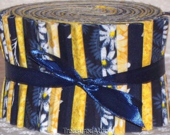 """Jelly Roll or Honey Bun Quilting Fabric Strips Navy Yellow White  100% Cotton Quilt Pre Cut 1.5"""" or 2.5"""" Fabric Strips"""