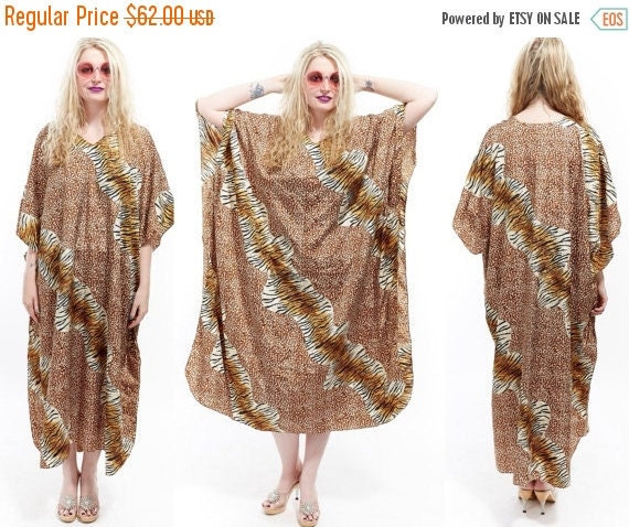 Vtg 90s MIXED PRINT animal safari jungle Leopard CAFTAN Maxi Goddess Dress Resort Boho Avant Garde Festival Loungewear Tribal Ethnic Glam os