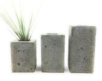 Square Concrete Succulent Planters/Air Planters/Vase.  (set of 3). Natural gray.   FREE SHIPPING! Ready To Ship!