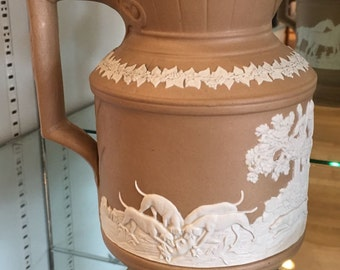 Antique English Pottery and  Pewter Hunt Jug w Dogs and  Horses No Reserve