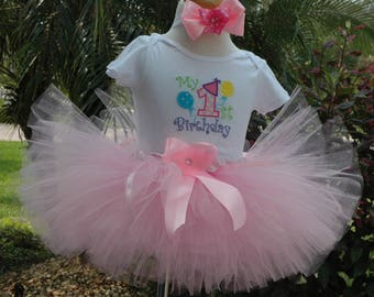 baby girl 1st birthday tutu outfit,My 1st Birthday Girl Tutu Outfit,Pink Tutu,One Year Old, Baby Girl,Fun Birthday Dress