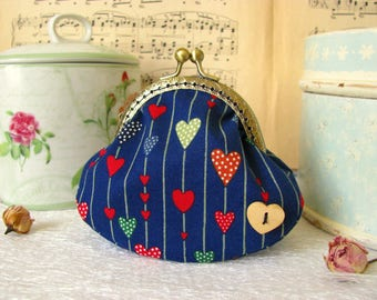 Coin purse clutch in navy blue with hearts