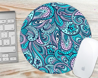 Mouse Pad Blue Pink Paisley 7095