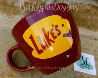 Glitter|Merlot | ORIGINAL Luke's Diner Mug | Big Mug | Lukes mug | Lukes Diner | Gilmore Girls| Inspired | Mug | VINYL decal logo BOTH sides
