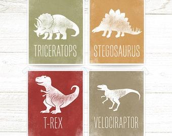 Dinosaur Wall Art, T-rex, Triceratops, Stegosaurus, Velociraptor, Dinosaur Theme, Wall Art, Dinosaur Prints  set of 4