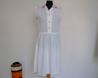 White Broderie Prairie Dress With Red Detail *** UK 12-14