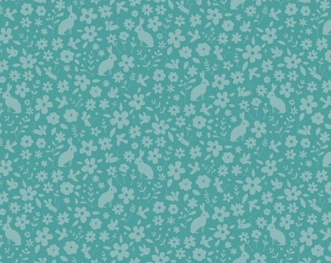 HIP HOORAY - Garden Party in Blue - Floral Bunnies Cotton Quilt Fabric - by Lizzie Mackay for Blend Fabrics - 121.101.05.1 (W3789)