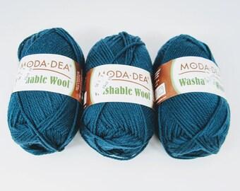 Moda Dea 100% Merino Washable Real Teal Wool Yarn 3 Skeins 3.5 Ounces Each