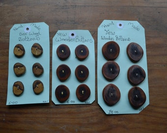 Hand made wooden buttons.