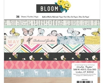 """Crate Paper Single-Sided Paper Pad Maggie Holmes Bloom 6""""X6"""" 36/Pkg - 680428 Single Sided Paper Pad Scrapbooking paper"""