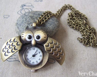 1 PC Antique Bronze Owl Wing Pocket Watch Pendant 25x40mm A4611