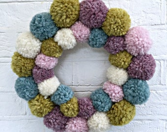 Pom Pom Wreath, Nursery Decor Girl, Spring Wreaths for Front Door, Pastel Decor, Spring Decorations, Pom Pom Decorations, Modern Wreath