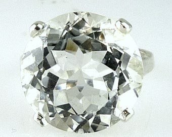 Stunning Very Large Natural Round White Topaz Ring, 925 Sterling Silver 18MM