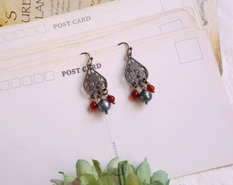 Antique inspired Victorian style earrings blue freshwater pearl Carnelian Gemstone earrings