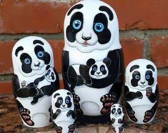 Panda with Cubs on Five Russian Nesting Dolls. Hand Painted.