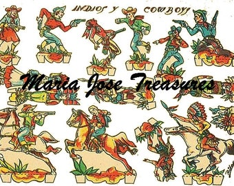 Vintage American Cowboys and Native Americans Paper Dolls - Digital Download
