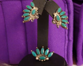 Sterling SIlver and Turquoise Pin and Screwback Earrings