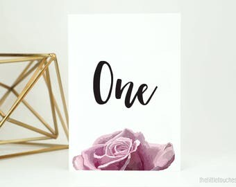 Rose Table Numbers - (pack of 10)