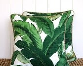 ON SALE Green Palm Outdoor Square Cushion Pillow Cover - With OPTIONAL Piping trim