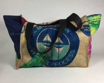vegan bag, Large tote bag, burlap bag, handmade tote, beach tote, eco friendly bag, recycled bag, beach bag