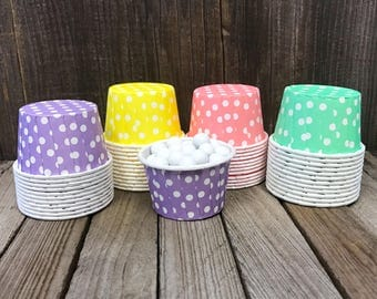 48 Rainbow Polka Dot Candy Cups-- Nut Cups--Birthday Party--Favor Cups--Baby Shower--Yellow, Pink, Purple and Green Candy Cups