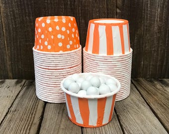 48 Orange Striped and Polka Dot Candy Cups--Orange Nut Cup-- Birthdays--Halloween-- Fall Party--Favor Cup
