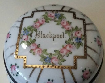 1930's Hand painted porcelain Trinket box. Blackpool souvenir.