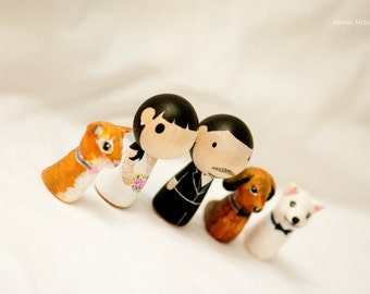 Cake Topper  - - -  Kokeshi Peg Doll - - - with 3 Pets