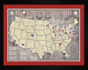 Baseball Map Etsy - Us map of mlb teams