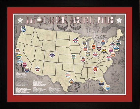 MLB Major League Baseball Parks Stadiums Pro Teams Location - Map of us baseball stadiums
