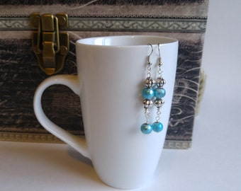 Antique silver and turquoise dangling earrings, gift for her, stocking stuffer, handmade by Felicianation