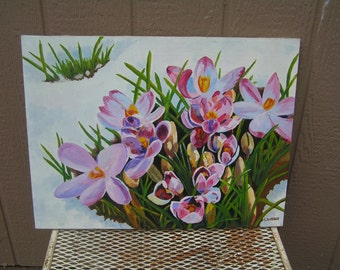 "Vintage Oil on Canvas Purple Crocus in Snow Still Life Signed by Artist L Weber Cottage Decor Original Retro Art 24"" x 18"""