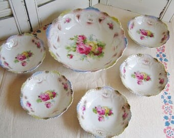 Vintage 6 Piece Roses Lusterware Berry Bowl Set Made in Germany Cottage Chic Porcelain Serving Bowls Tea Party Bowls 5 Small 1 Large Bowl