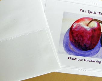 TEACHER THANK YOU Photo Greeting Card created by Pam Ponsart of Pam's Fab Photo by reproducing one of her watercolor paintings