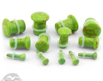 "Green Howlite Stone Plugs - Single Flare (8G - 1/2"") Sold In Pairs - New!"