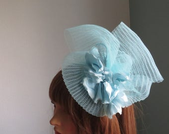 turquoise pleated crinoline   light  turquoise  with matching flower and feathers